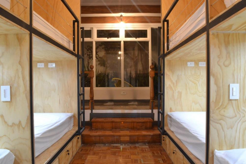 Our pods all have 2 electricity outlets, 2 lights, shelf and secured drawer.