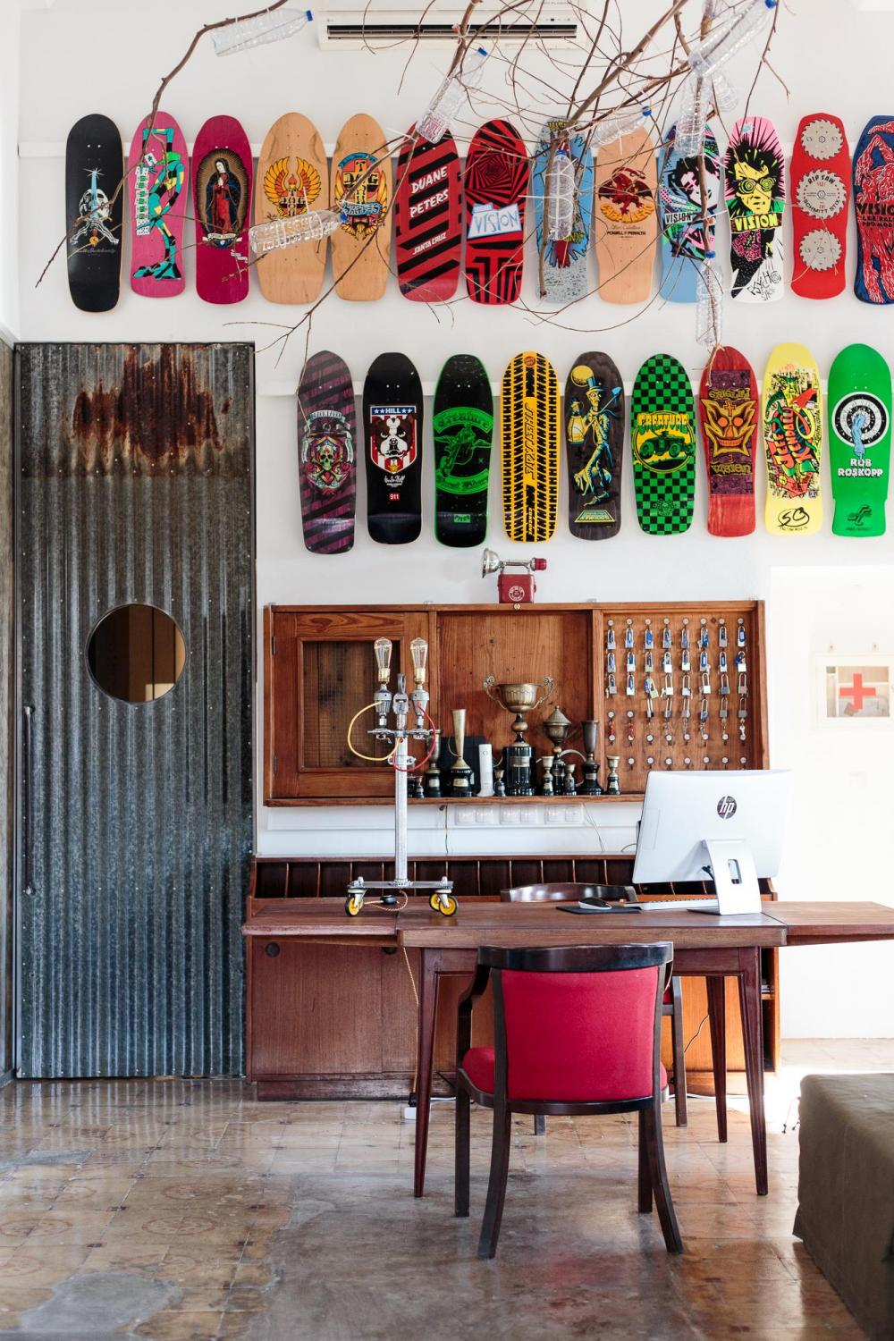 Impressive tempory exibition of a private collection of skateboards.