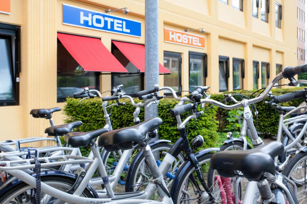 Park your bikes in front of the hostel