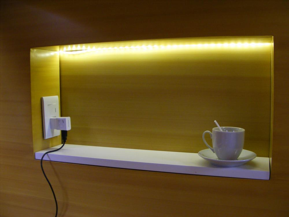 The beds have light, socket and locker of security