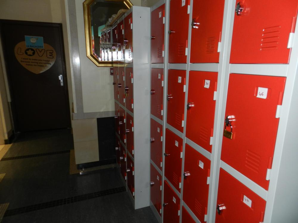 Storage room and safety boxes with a padlock
