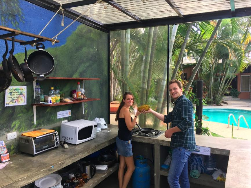 A free kitchen in the tropical garden